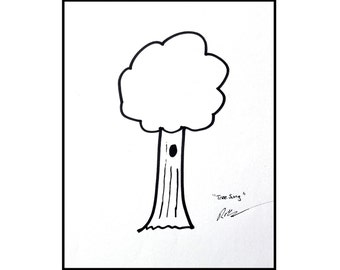 Cartoon tree drawing original art minimalist illustration black and white - Tree Song by Robert McConvey