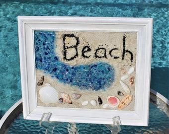 BEACH Wall ART,Beach Wall Decor,Beach Written in the Sand,Beach Sea Glass Art Window,Best Selling Item,Coastal Decor,Flat Rate Shipping #200