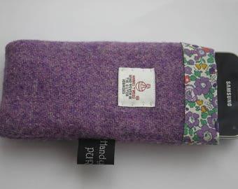 Harris Tweed Purple Phone Case, Mobile Cozy, Liberty Cozy, I Love Purple, Tweed Phone Case, Amethyst Case, Betsy Ann, Flower Case, Pouch, UK