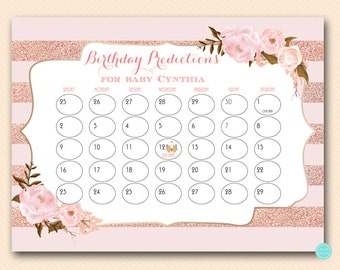 Girl Baby Prediction Calendar, baby prediction calendar, baby due date calendar, guess due date, Baby Shower due date calendar WC134 WD90