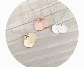 Initial Necklace | Monogram Necklace | Double Pendant Necklace | Double Custom Charm Necklace | Anniversary Gift | Bridesmaid Gift