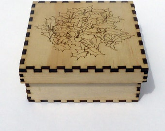 Plywood laser cut box craft kit - self assembly with holly leaf design