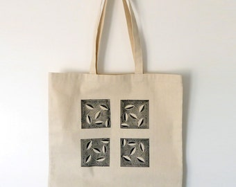 Canvas Tote Bag with Wood Block Print