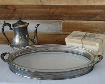 Vintage F.B Rogers Silver Co. - Vintage Silver Meat Platter -  Serving tray with glass dish - Rectangle Service Dish - 1948 -Vintage Kitchen