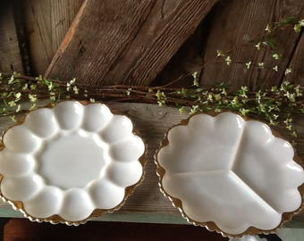 Vintage egg plate and relish tray