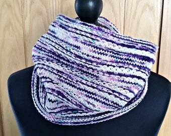 Luxury hand knit cowl, knit scarf, hand dyed yarn, circle scarf, hand knit, winter accessory, neck warmer, tube scarf, purple and white