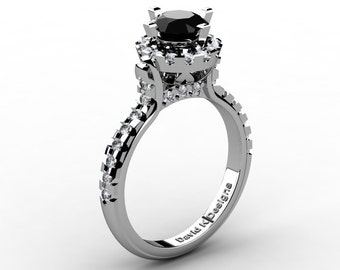 French 14K White Gold 1.0 Ct Black And White Diamond Solitaire Engagement Ring R1096-14KWGDBD