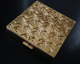 Vintage Signed Paul Flato Gold Plated Powder Compact with Rhinestones Mirror Compact Hollywood Regency Star Pattern 1940s  Vintage Compact