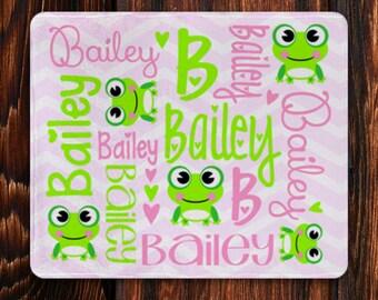Personalized Baby Blanket, Custom Baby Blanket, Monogrammed Blanket Frog, Memory Blanket, Name Blanket, Baby Blanket, Custom Baby Gift