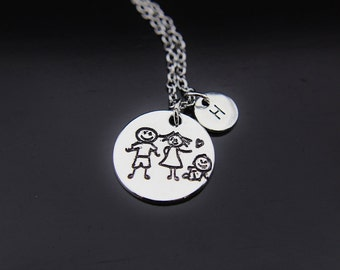 Silver Family Charm Necklace Family of 3 Charm Personalized Necklace Initial Charm Initial Necklace Customized Monogram Jewelry