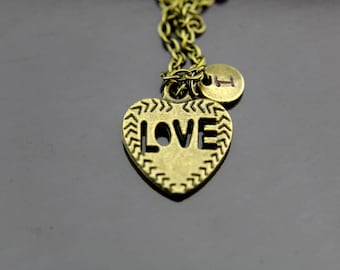 Love Heart Necklace, Bronze Heart Charm Necklace, Heart Pendants, Heart Charms, Personalized Necklace, Initial Necklace, Initial Charms