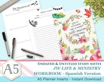 SPANISH - Simple JW Meeting Workbook companion notes - A5 - Printable inserts - Undated Untitled