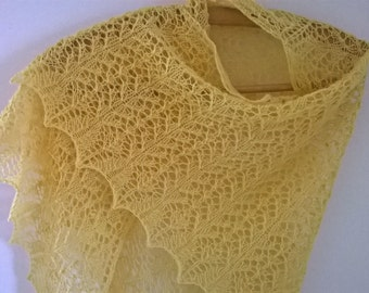 yellow shawl/ yellow wrap/ yellow lace shawl/ yellow scarf