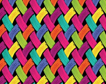Brush dance, Basket weave, Multicolored basket weave fabric print, by Benartex, 6171-26