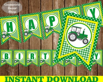 Tractor Happy Birthday Banner Printable Rustic Green plaid Yellow Farm Free Child Name added INSTANT DOWNLOAD BNTractor1