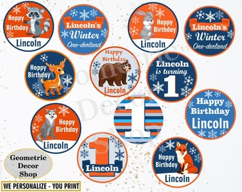 Cupcake Toppers Birthday Winter Onederland Party favor tags circles Blue Orange Thank you labels Stickers Woodland Wolf Bear Fox Deer CTW1