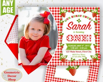 Strawberry Birthday Invite Strawberry Invites Berry Sweet Invitations Girl First Invitation One Red Plaid Rustic Photo Photograph BDS6