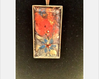 Hand-Painted Necklace, Abstract Design, Antique Bronze Finish, 25 x 50 mm
