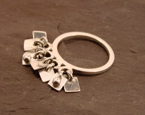 Charm Ring Silver Charm Ring Dangle Charm Ring Abstract