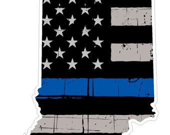 Indiana State (V15) Thin Blue Line Vinyl Decal Sticker Car/Truck Laptop/Netbook Window
