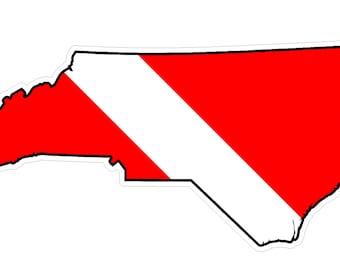 North Carolina State (B34) Diver Down Flag Yeti Tumbler Decal Sticker Laptop