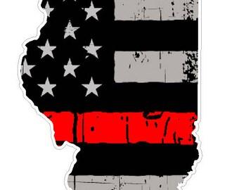 Illinois State (C14) Thin Red Line Vinyl Decal Sticker Car/Truck Laptop/Netbook Window
