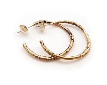 Bronze Woodland Twig Hoop Earrings - Nature Boho Forest Woods