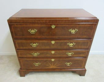 Drexel Heritage Mahogany Inlaid Leather Top Desk Chest Dresser Biltmore  Estate