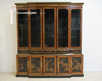 Vintage Drexel Et Cetera Asian Inspired Chinoiserie China Cabinet Breakfront