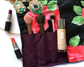 Flower Makeup Brush Roll - Floral Makeup Brush Roll - Black Brush Roll - Purple Brush Roll - Cosmetic Storage - Brush Roll Storage