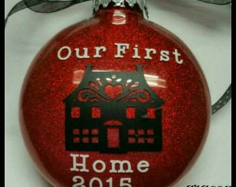 "Personalized ""Our First Home"" Ornament with Name and Date"
