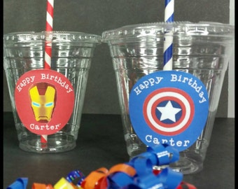 12 Personalized SuperheroThemed Party Cups with Lids and Straws!