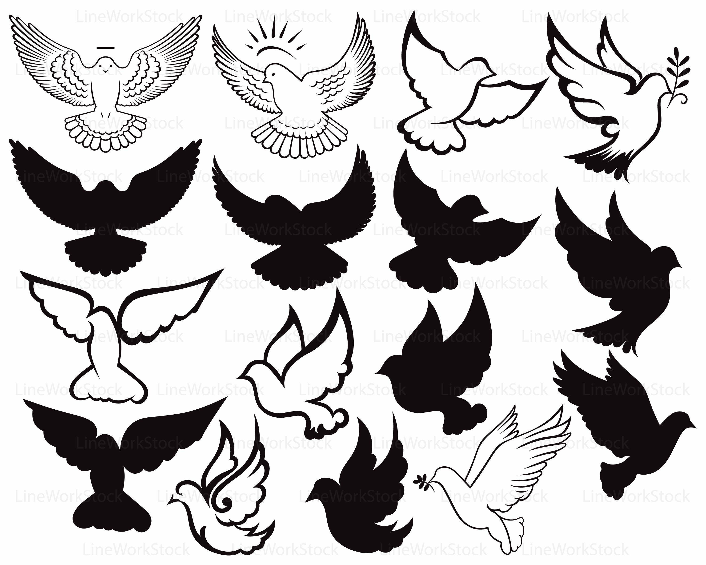 Dove Svg Clipart Peace Silhouette