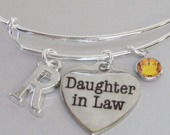 Daughter In Law  BANGLE -   Adjustable Bangle W/ Swarovski Birthstone Drop / Initial - Gift For Her Under 20 USA  S1 - 05