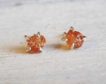 Hessonite Garnet Rough Stone Earrings, Fine Sterling Silver 999 Earrings, January Birthstone