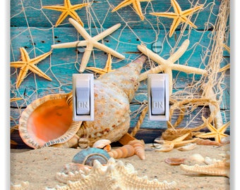 Seashell Starfish Net Beach Light Switch Plate Cover Decor Print