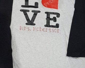 LOVE Teacher School Raglan Shirt