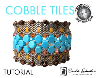 Cobble Tiles bracelet - instant dowload for the pdf instructions for a beadwork bracelet tutorial - with Honeycomb and Half Tila!