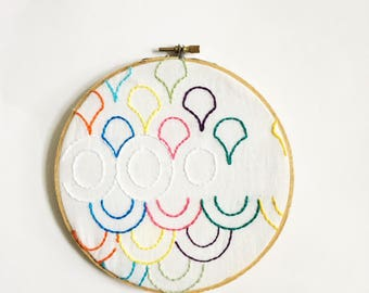 Rainbow half moons and circles hand stitched ready to ship embroidery hoop wall decor