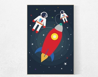 Kids room decor rocket ship, outer space nursery, outer space art, outer space kids, outer space decor, space nursery decor, toddler room