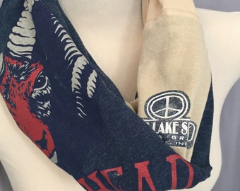 Navy Blue n Beige Infinity Scarf, Boho Handmade Women's Cotton T shirt Scarf, Christmas OOAK Gift For Her Under 40,Indiana,Peace Sign Ram's