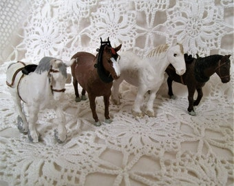 Vintage Model Horses. Britain's Horses. Set of 4 Model Horses. Model Working Horses, Draught, Shire Horses. Suffolk Punch. Miniature Horses.