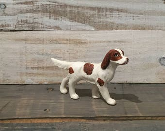 Vintage Brown and White Spaniel Dog Statue