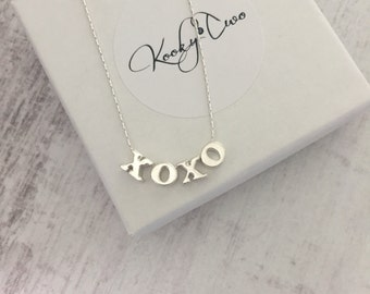 Sterling Silver XOXO Necklace/Hugs & Kisses Charm Silver Necklace/Alphabet/Minimalist/Everyday Wear/Gift/Bridal