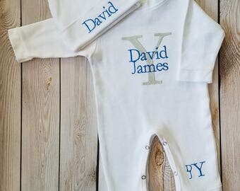 Personalized Baby Boy Outfit Baby Boy Monogrammed Coming Home Outfit Newborn Baby Boy Personalized Baby Gift