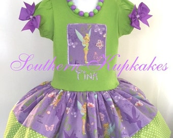 Disney TINK TINKERBELL Inspired 2pc. Twirl DRESS Custom All Sizes Available Boutique Pageant Birthday Party Vacation Land World Costume