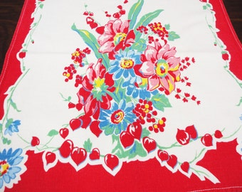 Vintage Table Runner - Bright Bold Red Floral, Green, Blue - Strawberries - Cotton Fabric - 29 x 14