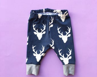 deer print baby leggings, baby boy leggings, toddler boy leggings, deer print, navy leggings