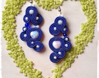 """Soutache earrings  """"BlueLove"""""""
