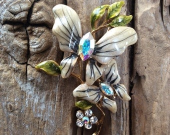 Vintage Gold and Jeweled Butterfly Flower Brooch